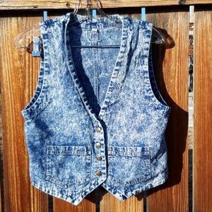 Vintage acid wash denim vest size small